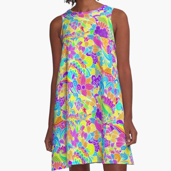 Retro Floral Beautiful Hippie Design A-Line Dress