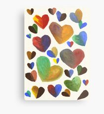 Hand-Painted Hearts in Colorful Chocolate Brown Metal Print