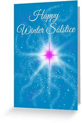 Winter solstice pink star in the night greeting cards by lynne winter solstice pink star in the night by lynne goodman m4hsunfo