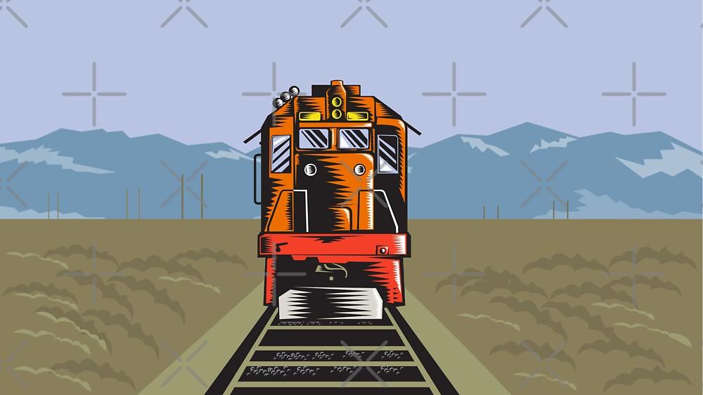 Diesel Train Front Rear Woodcut Retro by patrimonio