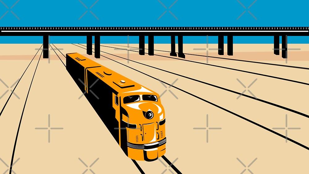 Diesel Train High Angle Retro by patrimonio