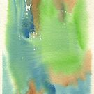 Watercolor Hand Painted Abstract Green Brown Blue Background by Beverly Claire Kaiya