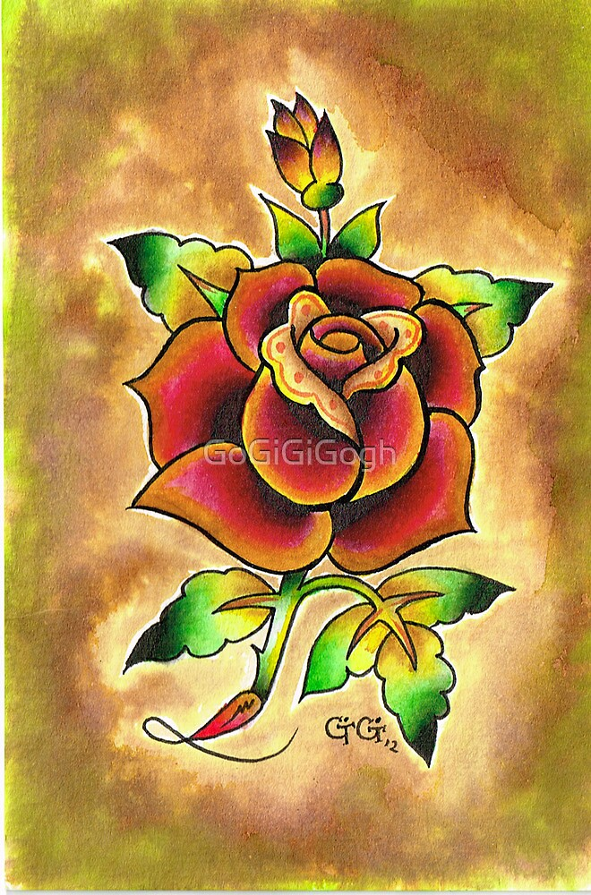 Tattoo Rose Watercolor #1 by GoGiGiGogh