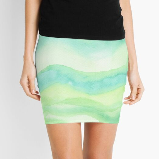 Hand-Painted Fresh Green Watercolor Abstract Background  Mini Skirt