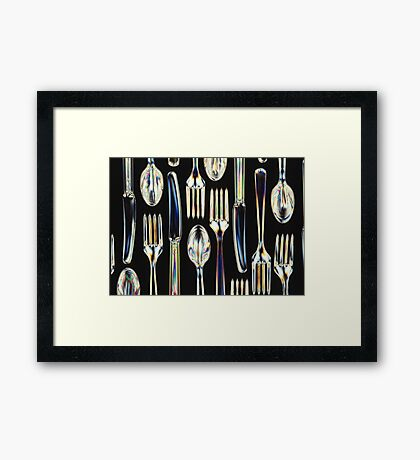 Plastic Knives, Forks and Spoons Arranged In A Pattern Framed Print