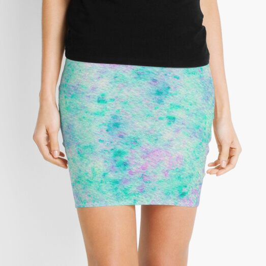 Watercolor Hand Painted Speckled Purple Turquoise Background Mini Skirt