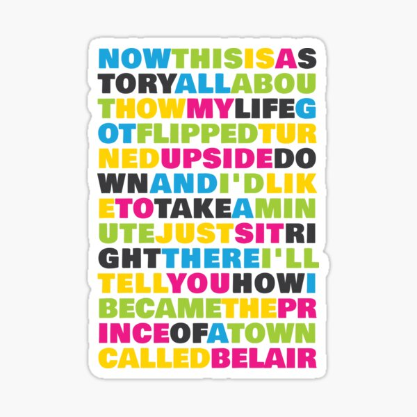 Fresh Prince of Belair lyrics Sticker