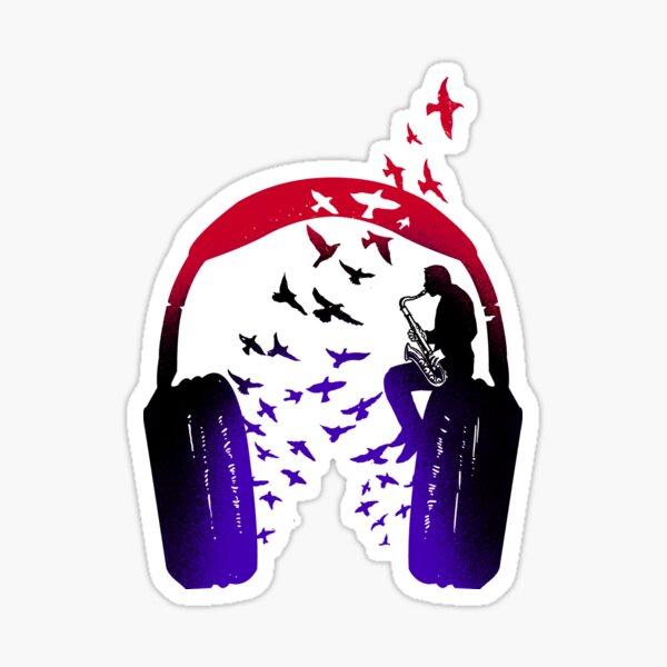 Headphone Music Saxophone Sticker