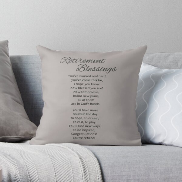 Retirement Gifts for New Retiree - Retirement Poem Gift Ideas for Retiring Women & Men - Great Retirement Party Decorations Throw Pillow