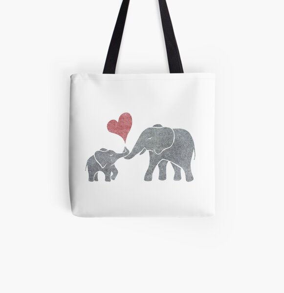 Elephant Hugs All Over Print Tote Bag