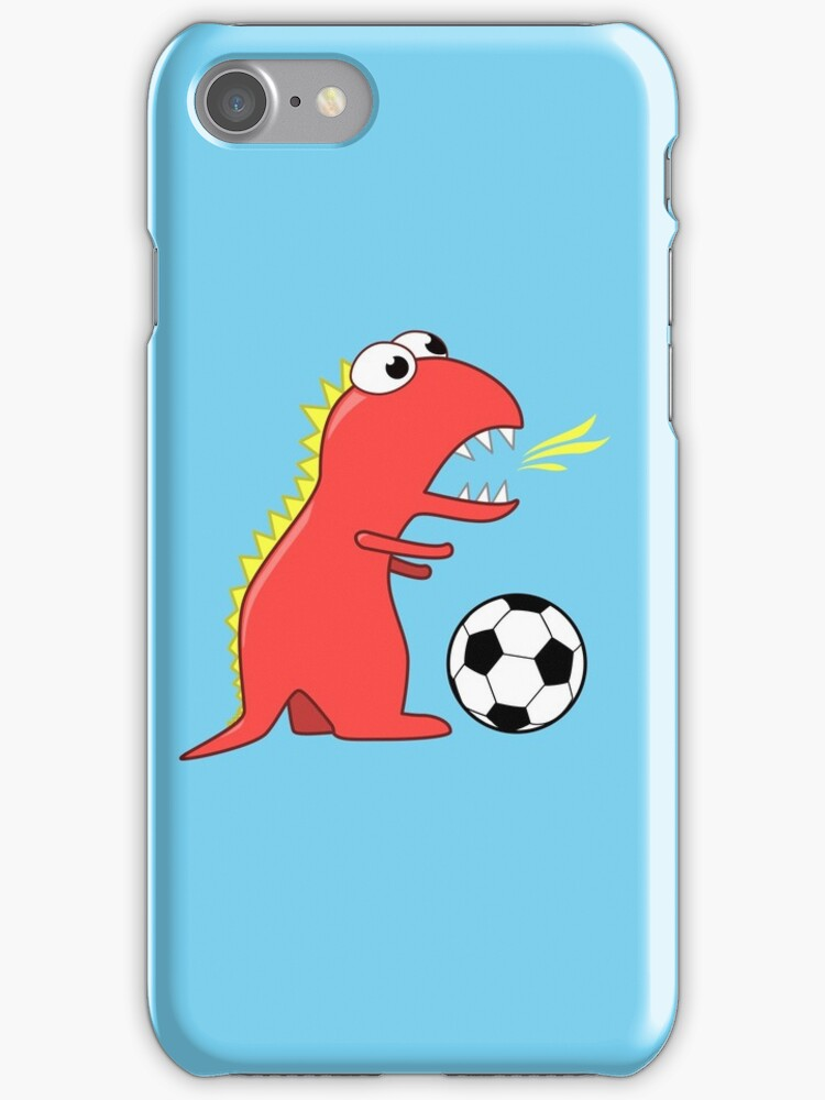 Blue Funny Cartoon Dinosaur Soccer by Boriana Giormova