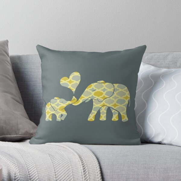Elephant Hugs Throw Pillow