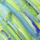 Watercolor Hand Painted Abstract Green Bamboo Texture by Beverly Claire Kaiya