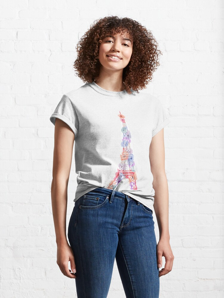 Alternative Ansicht von Blumen-Eiffelturm Paris Classic T-Shirt
