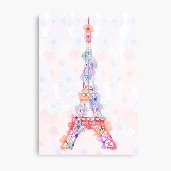 Flower Eiffel Tower Paris Metal Print