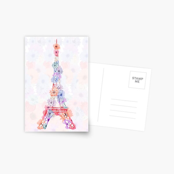 Flower Eiffel Tower Paris Postcard