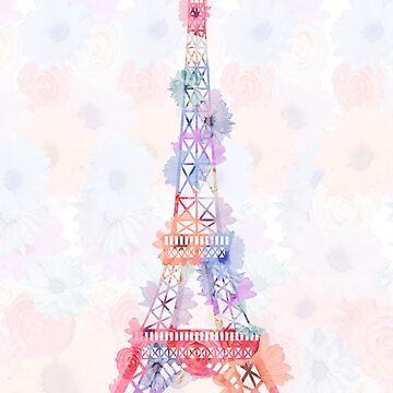 Blume Eiffelturm Paris von MartaOlgaKlara