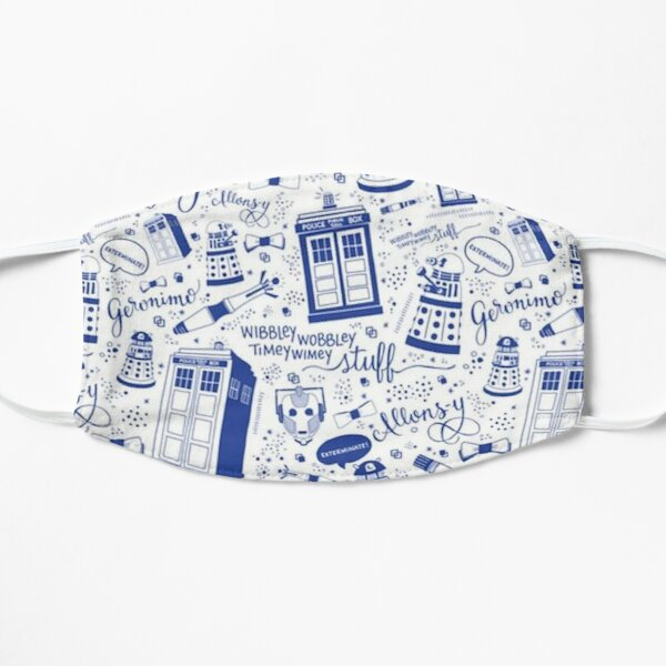 The Doctor Blue and White Pattern Flat Mask