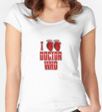 I Heart Heart Doctor Who (v3) Women's Fitted Scoop T-Shirt