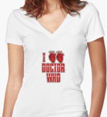 I Heart Heart Doctor Who (v3) Women's Fitted V-Neck T-Shirt