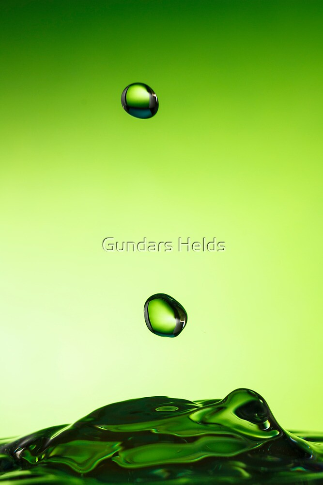 Green water drop by Gundars Helds
