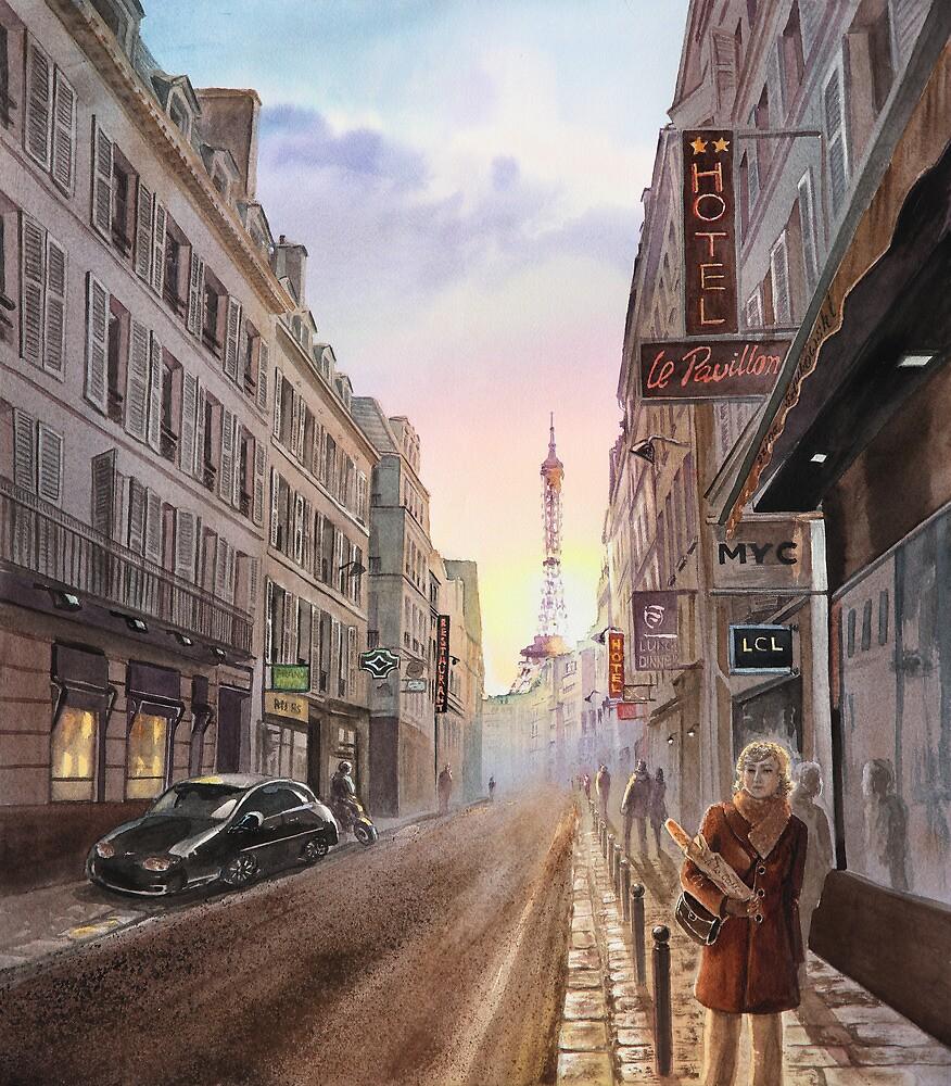 Rue Saint Dominique - Eiffel Tower - Paris, France by Irina Sztukowski