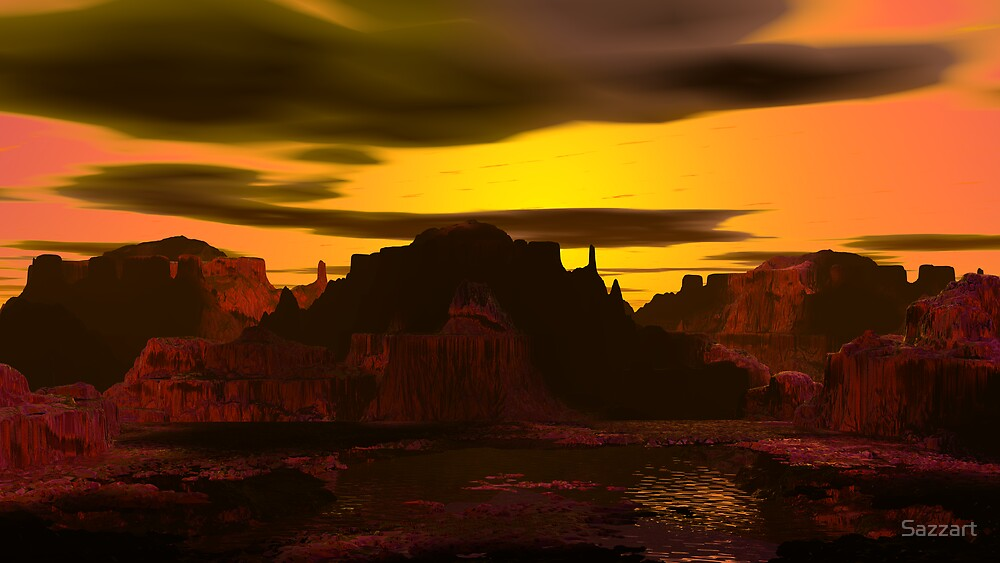 Sunset On Bumpwine Pond by Sazzart