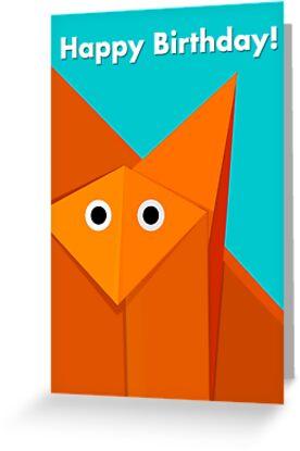 Cute Origami Fox Bright Birthday Card by Boriana Giormova