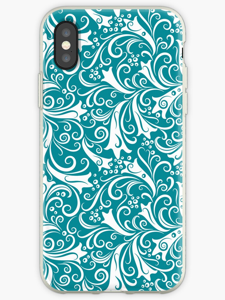 Turquoise-Blue And White Vintage Floral Design by artonwear