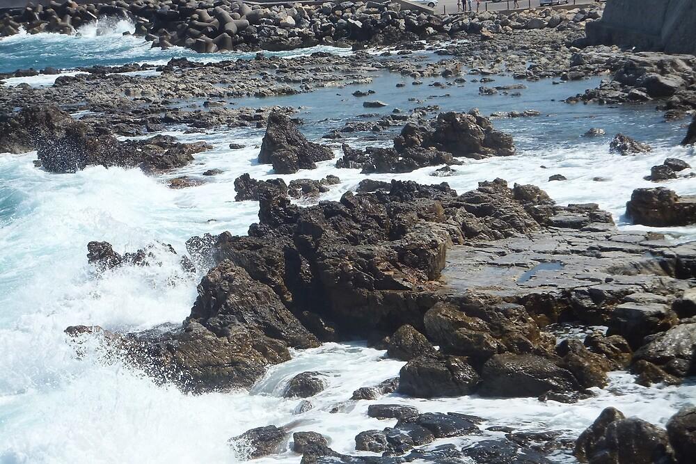 aegean waves on cretan rocks by dimitracoon