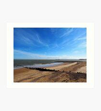 Blue Sky And A Beach - Walton On Naze Essex  Art Print