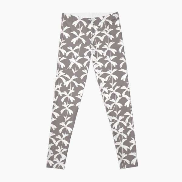 White Campion Silhouette on grey background Leggings