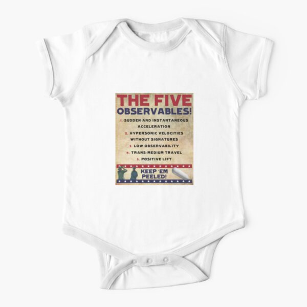 Five Observables (Old Paper Variant) Short Sleeve Baby One-Piece