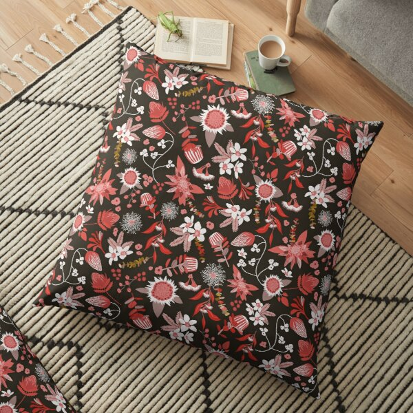 Stylized Australian Flora in black, pink and white Floor Pillow