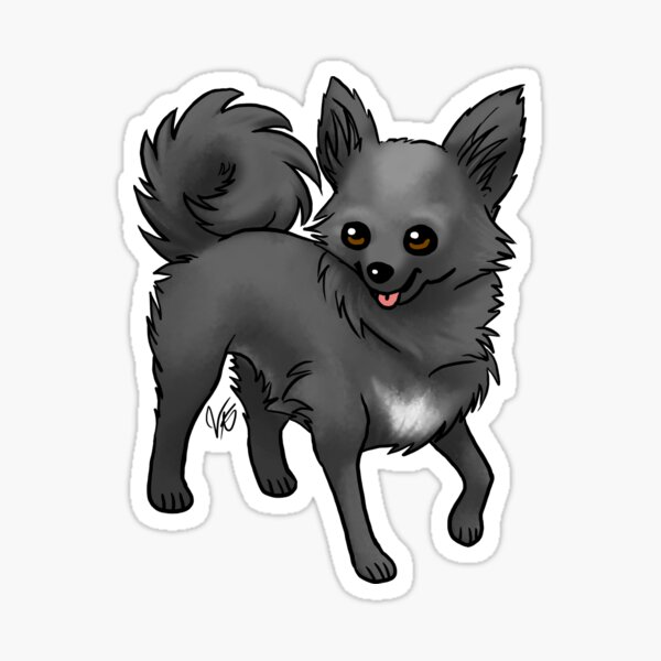 Long-haired Chihuahua - Black Sticker