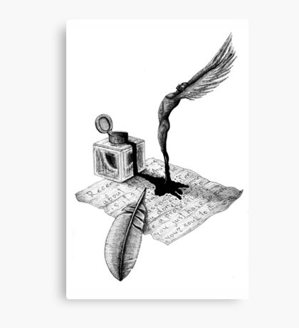 Inspiration surreal black and white pen ink drawing Canvas Print