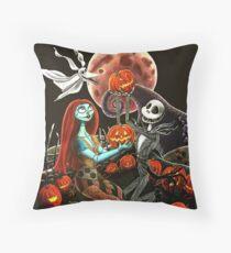 Jack and Sally Pumpkin Patch  Throw Pillow