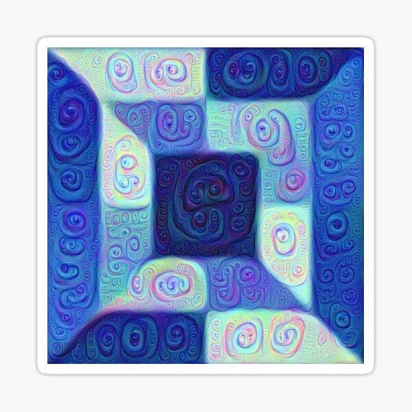 DeepDream Color Squares Visual Areas 5x5K v15 Sticker