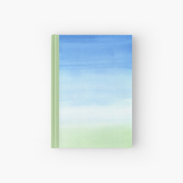 Watercolor Hand Painted Blue Sky Green Grass Texture Hardcover Journal
