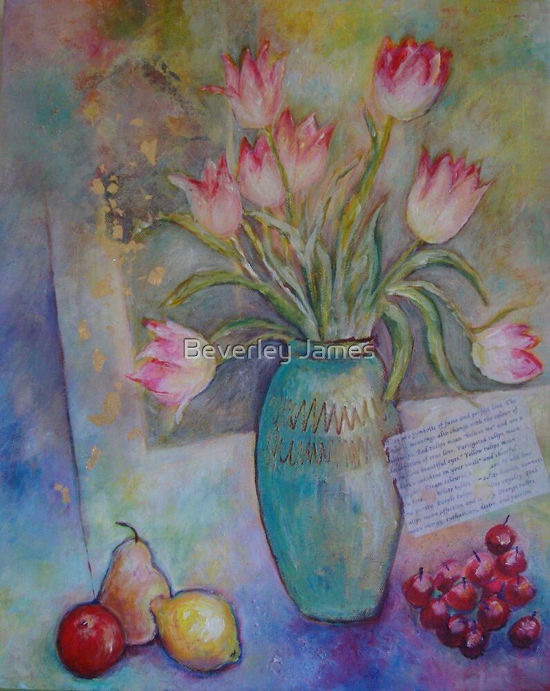 Floppy Pink Tulips by Beverley James