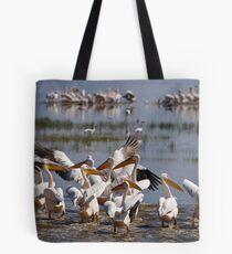 Great White Pelicans at Lake Nakuru Tote Bag