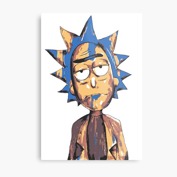 Rick And Morty - Rick 3 Coloured Metal Print