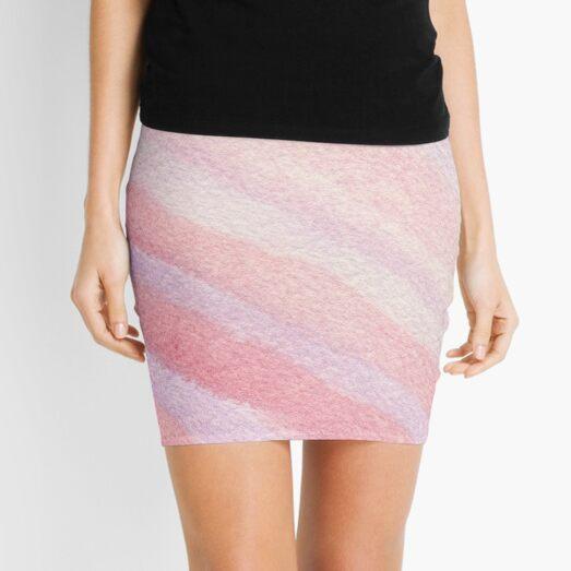 Watercolor Hand Painted Pink Purple Diagonal Stripes Mini Skirt