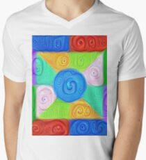DeepDream Color Squares Visual Areas 5x5K v17 V-Neck T-Shirt
