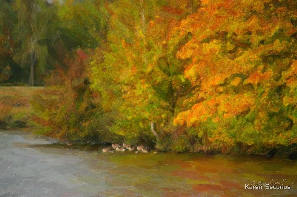Elbe Autumn oil01 by Karen  Securius