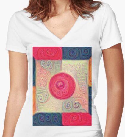 DeepDream Color Squares Visual Areas 5x5K v18 Fitted V-Neck T-Shirt