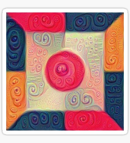 DeepDream Color Squares Visual Areas 5x5K v18 Sticker