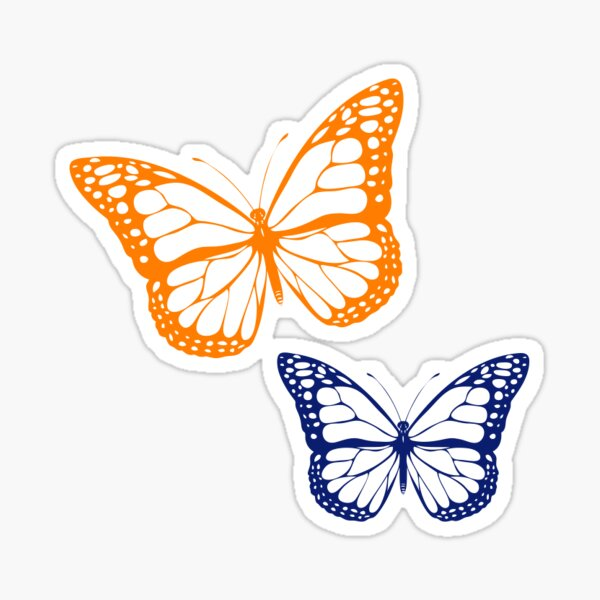 orange and blue butterfly Sticker