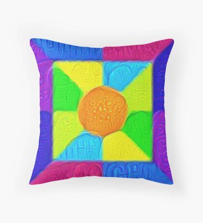 DeepDream Color Squares Visual Areas 5x5K v19 Throw Pillow