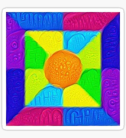 DeepDream Color Squares Visual Areas 5x5K v19 Sticker